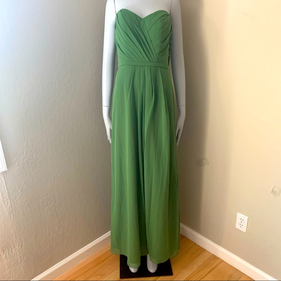 NWT BARI JAY Green Strapless Formal Gown 6